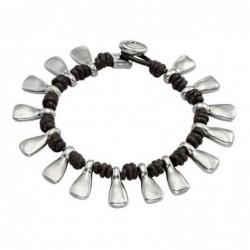 Bead Collar Corto 8/10/12mm - Plateado/Blanco