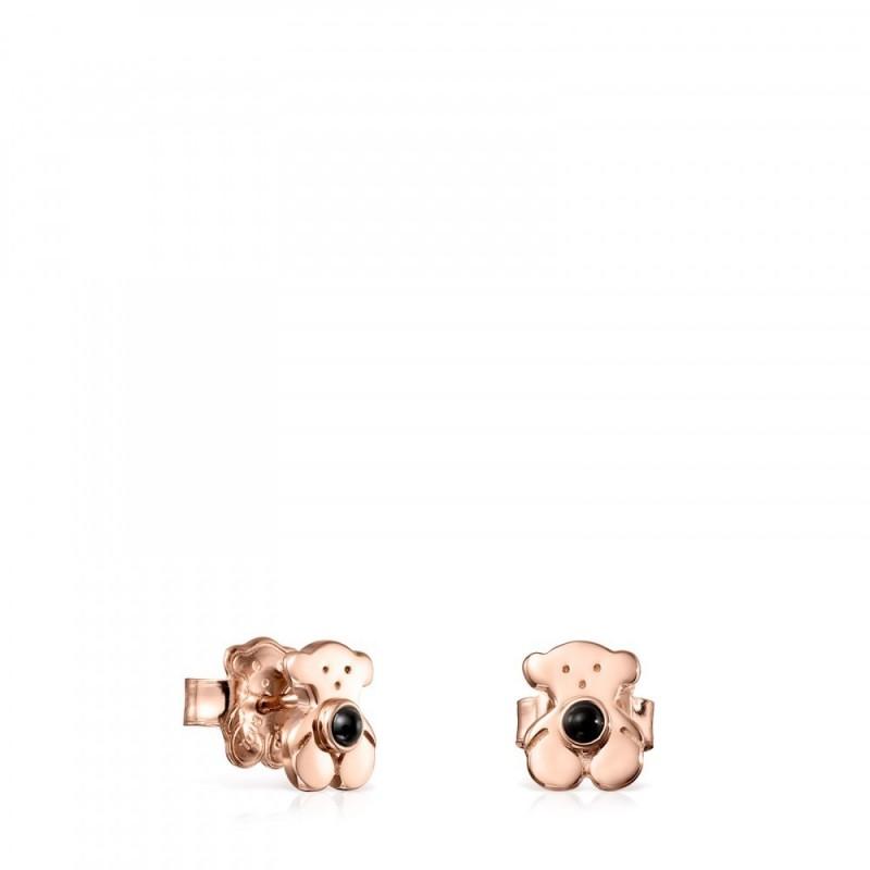 ee2f9cc166d9 Pendientes TOUS Real Sisy de plata vermeil rosa con onix. Cierre presión.  Motivo  0